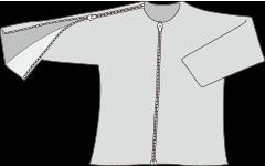 肩と中央の部分がファスナーの服